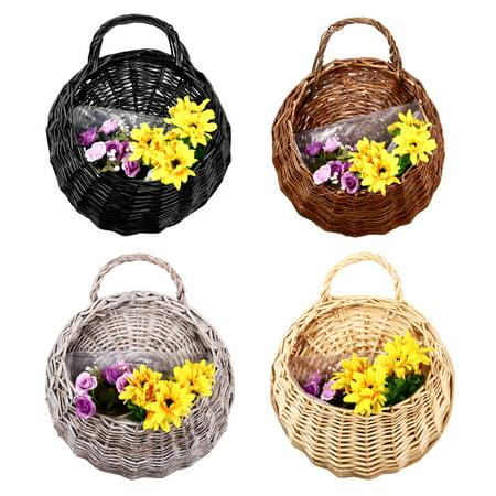 Moaere Hot Handmade Rattan Flower Pot Plant Stand Holder DIY Home Wall Hanging Seagrass Woven Wicker Basket Decor for $<!---->
