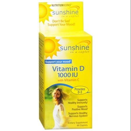 NUTRITIONWORKS soleil dans un Caplet vitamine D caplets 60 caplets (Paquet de 4)