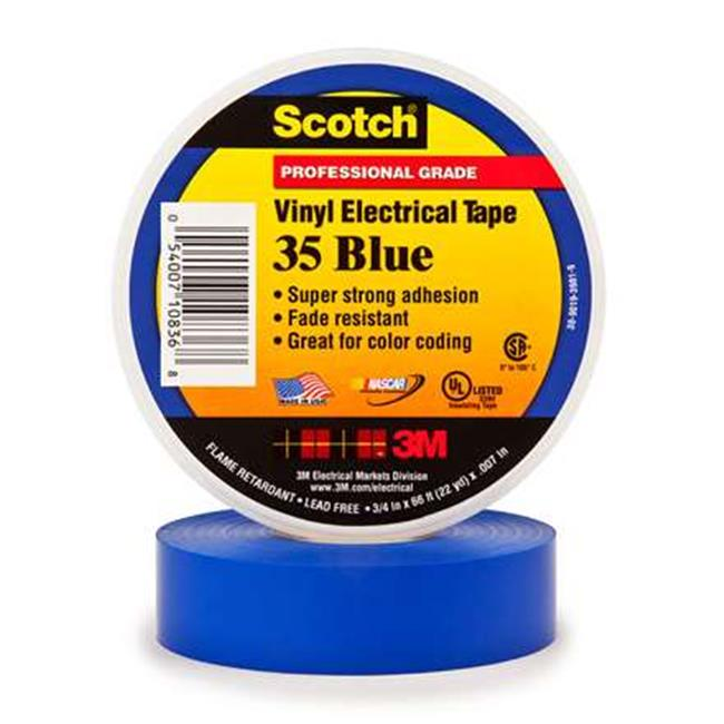 Scotch T96403510PKB 0.75 in. x 66 ft. Blue 35 Electrical Tape - Pack of 10