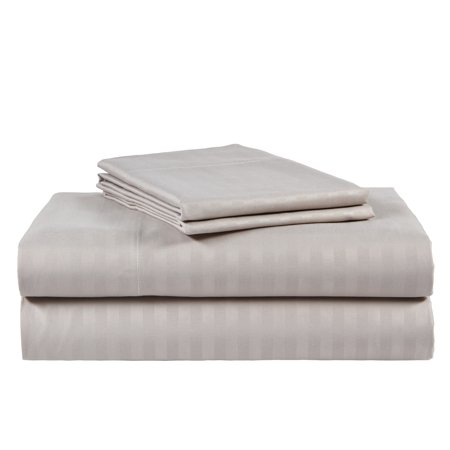 - Ruthy's Textile 4 Piece 300 Thread Count 100% Cotton Sateen Dobby Stripe Sheet Set