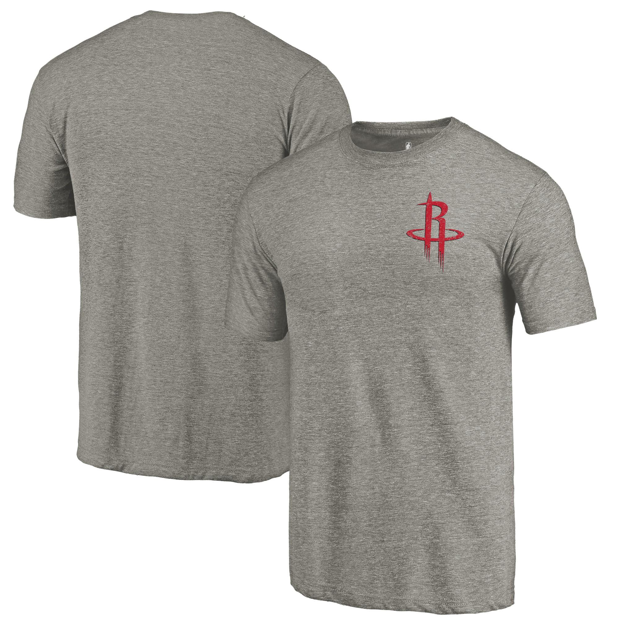 Houston Rockets Fanatics Branded Primary Logo Left Chest Distressed Tri-Blend T-Shirt - Gray