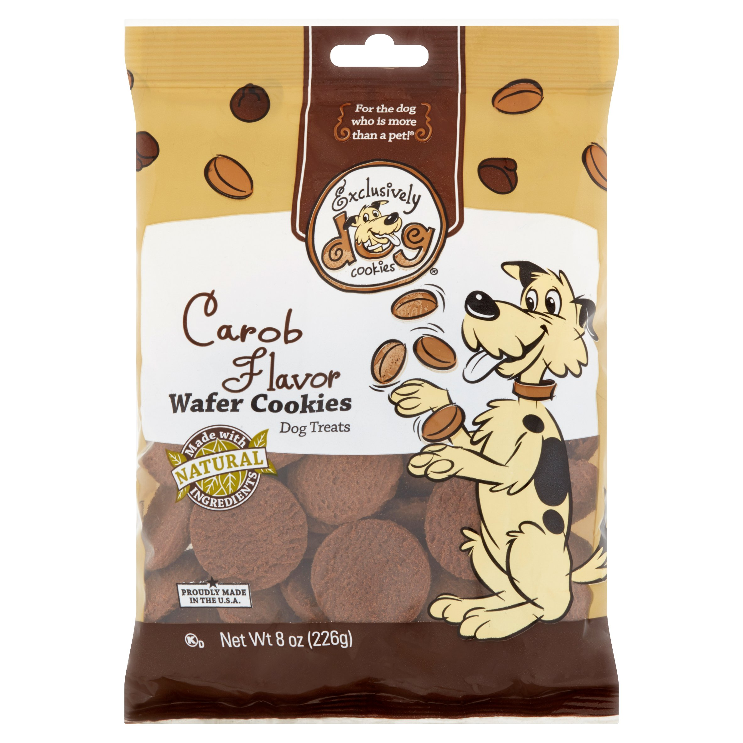 Exclusively Dog Cookies Carob Flavor Wafer Cookies Dog Treats, 8 oz by EXCLUSIVELY PET, INC.