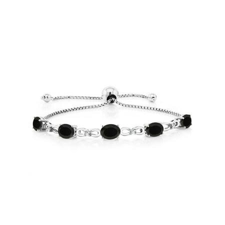 Black Onyx Toggle Bracelet (925 Sterling Silver Adjustable Diamond Tennis Bracelet 4.00 ct Oval Black)