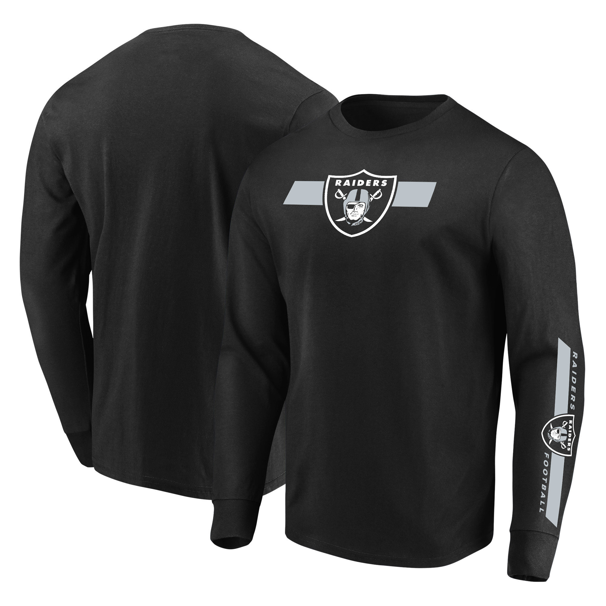 Oakland Raiders Majestic Dual Threat Long Sleeve T-Shirt - Black