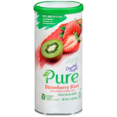 (12 Pack) Crystal Light Pure Strawberry Kiwi Drink Mix, 2.17 oz Can (5 Pitcher Pack)