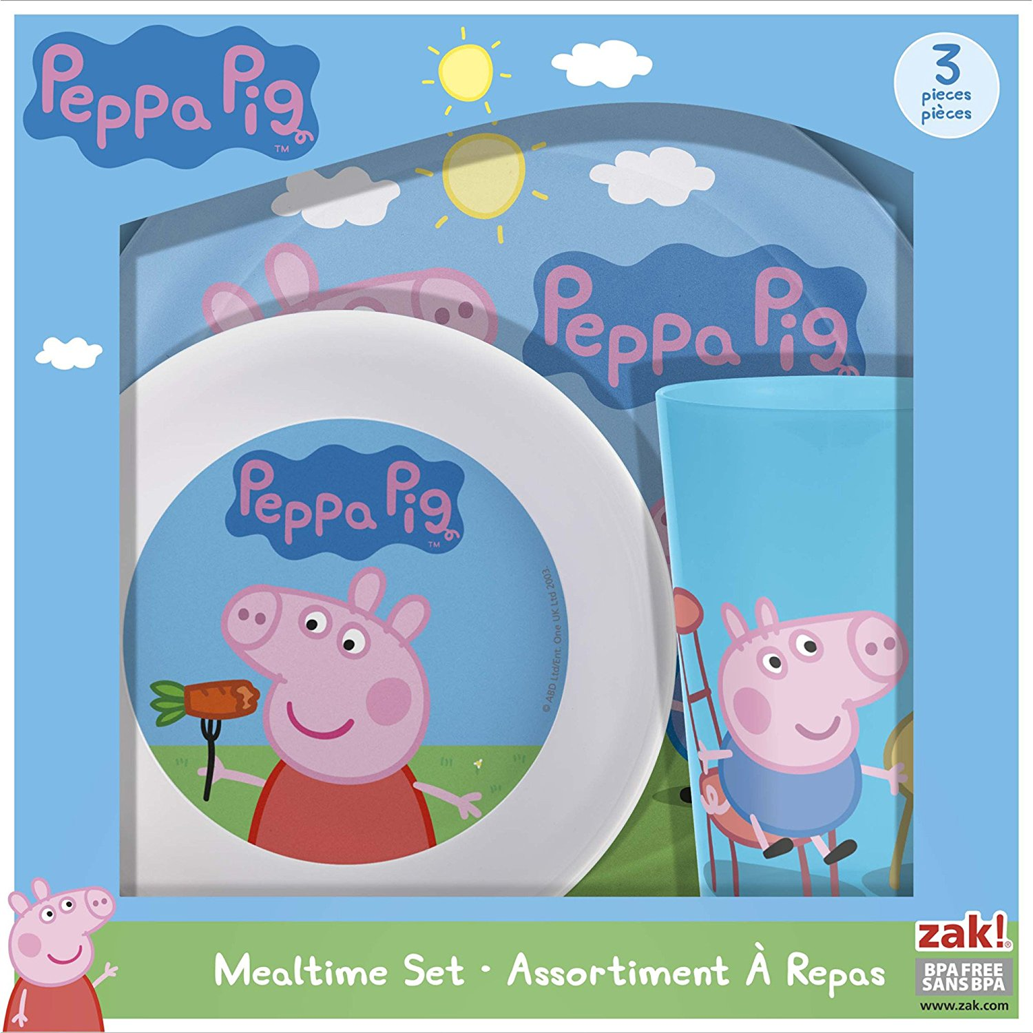 Peppa Pig Mealtime Set with Plate, Bowl and Tumbler, Break Resistant and  BPA-free Plastic, 3 piece set by Zak! Designs, Durable materials  , By Zak
