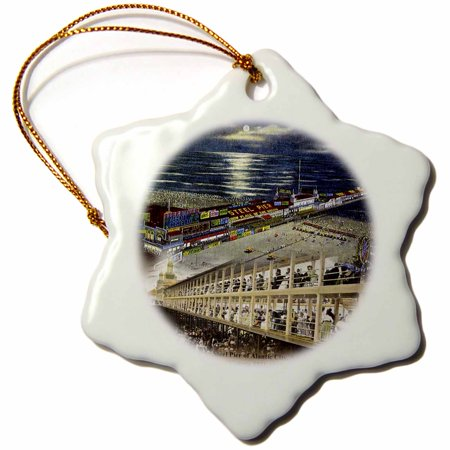 3dRose Steel Pier of Atlantic City, NJ (Vintage 1911-1918) - Snowflake Ornament,
