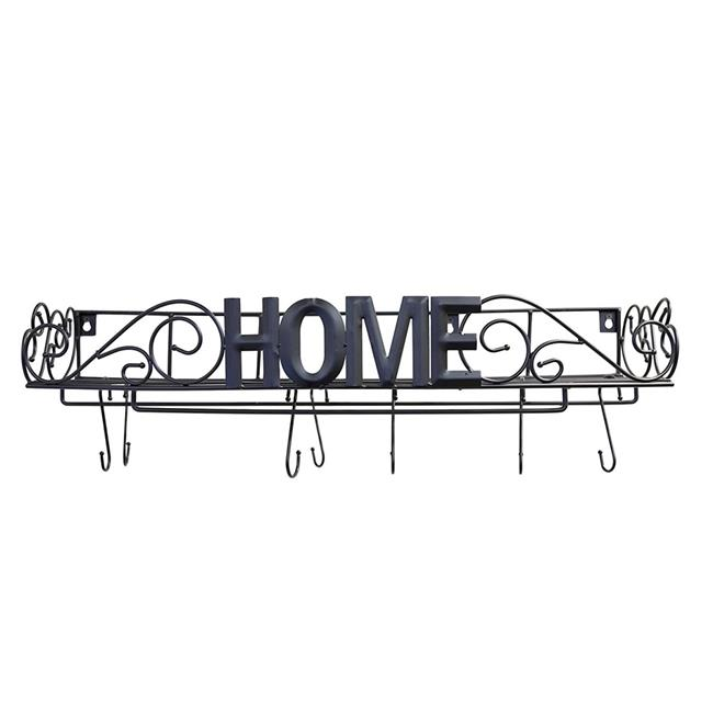 J Miles UH PR240 Decorative Hanging Pot Rack For Kitchen Organization   Wall  Mounted Iron Pot Rack With Home Lettering Across