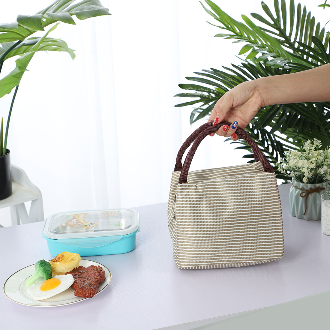 Lunch Bag Warmer Cooler Travel Food Box Tote Carry Insulated Bags Khaki+White - image 6 de 7