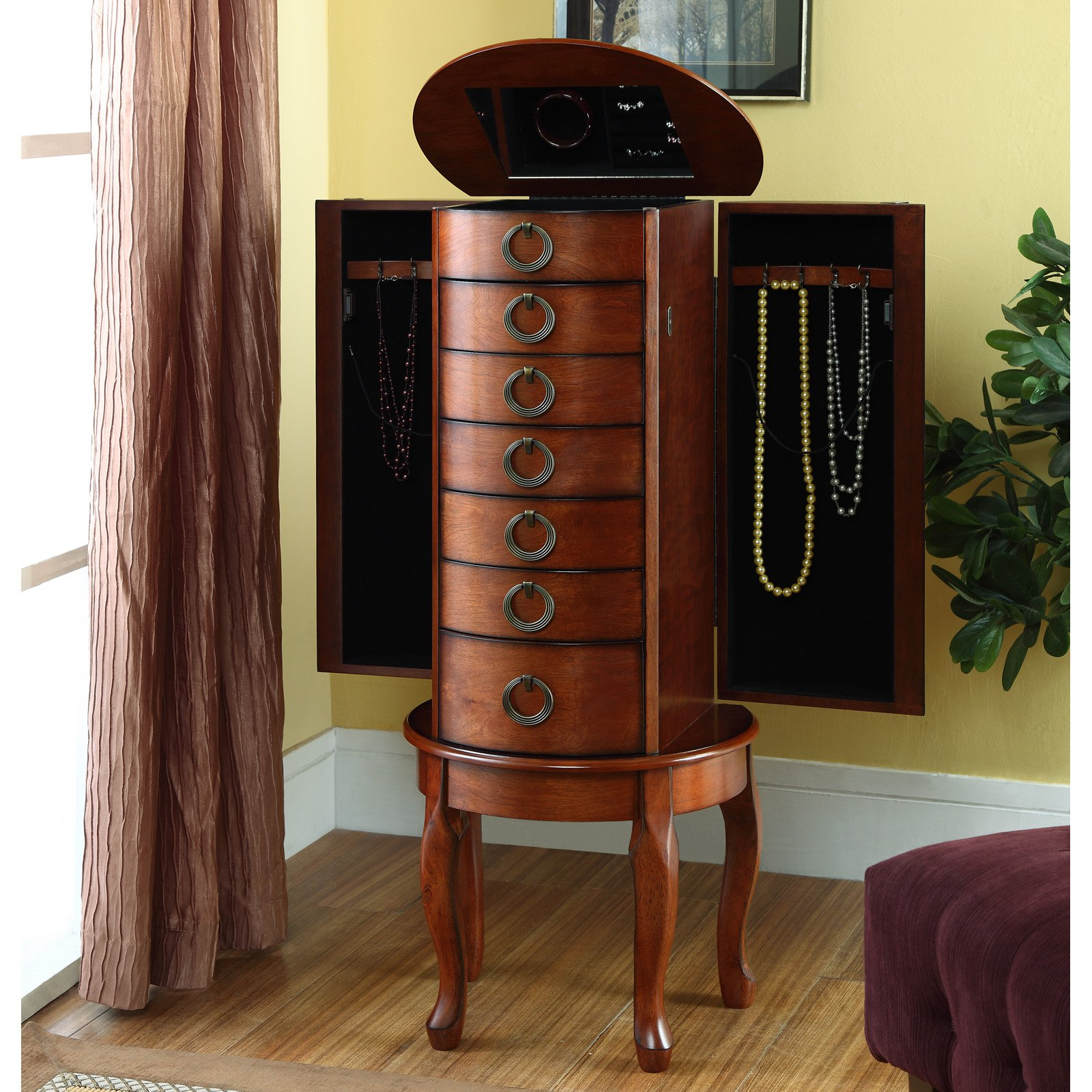 Powell Jewelry Armoire Woodland Cherry Finish Walmartcom