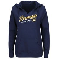 Women's Majestic Navy Milwaukee Brewers Fresh & Exciting V-Neck Pullover Hoodie