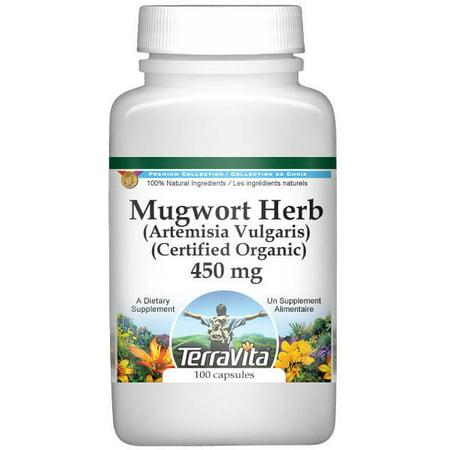Mugwort Herb (Artemisia Vulgaris) (Certified Organic) - 450 mg (100 capsules, ZIN: 517772)