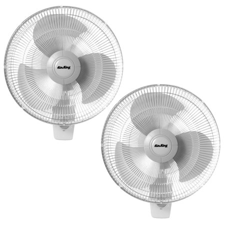 Air King 16 Inch Residential Grade Oscillating 3 Blade Wall Mount Fan (2 -