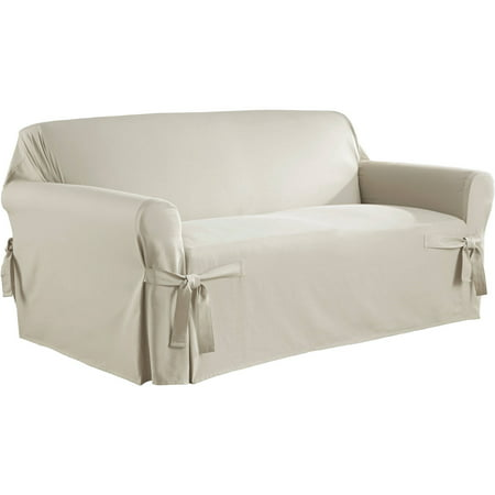 Serta Relaxed Fit Duck Furniture Slipcover, Loveseat 1-Piece Box Cushion Cotton Duck Loveseat Slipcover