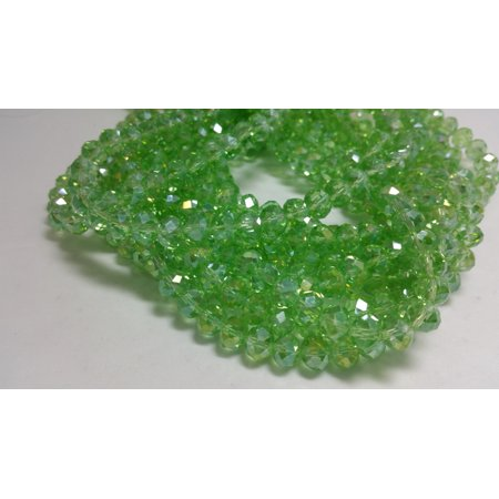 1 Bead Strand - 6x8mm Green Rondelle Glass Crystal Beads BD0113