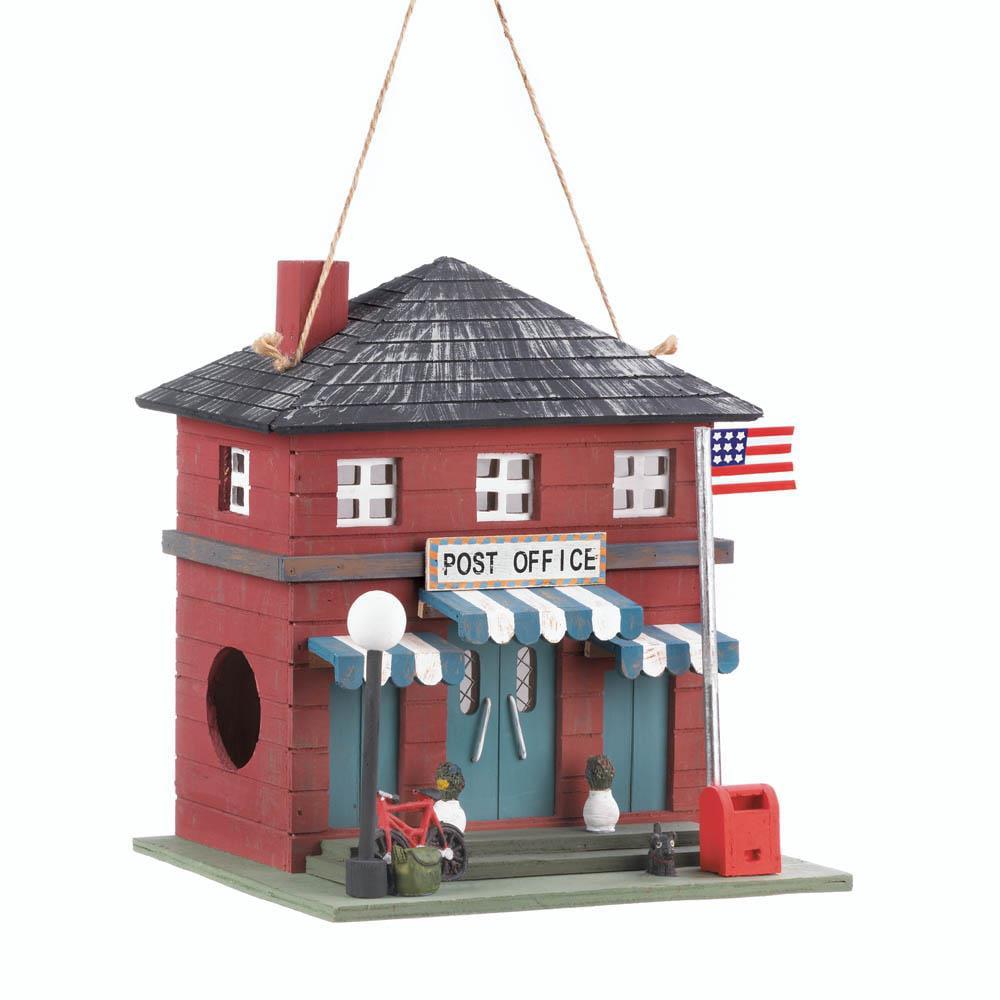 Birdhouse, Cute Red Post Office Finch Chickadee And Woodpecker Birdhouse Kids
