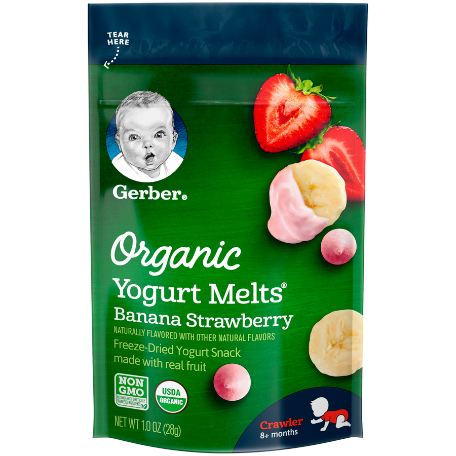 Gerber Yogurt Melts Organic Freeze-Dried Yogurt & Fruit Snacks, Banana Strawberry, 1 oz.