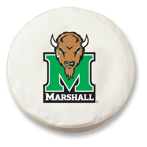 NCAA Tire Cover by Holland Bar Stool - Marshall University, White - 25.5 L x 8 D