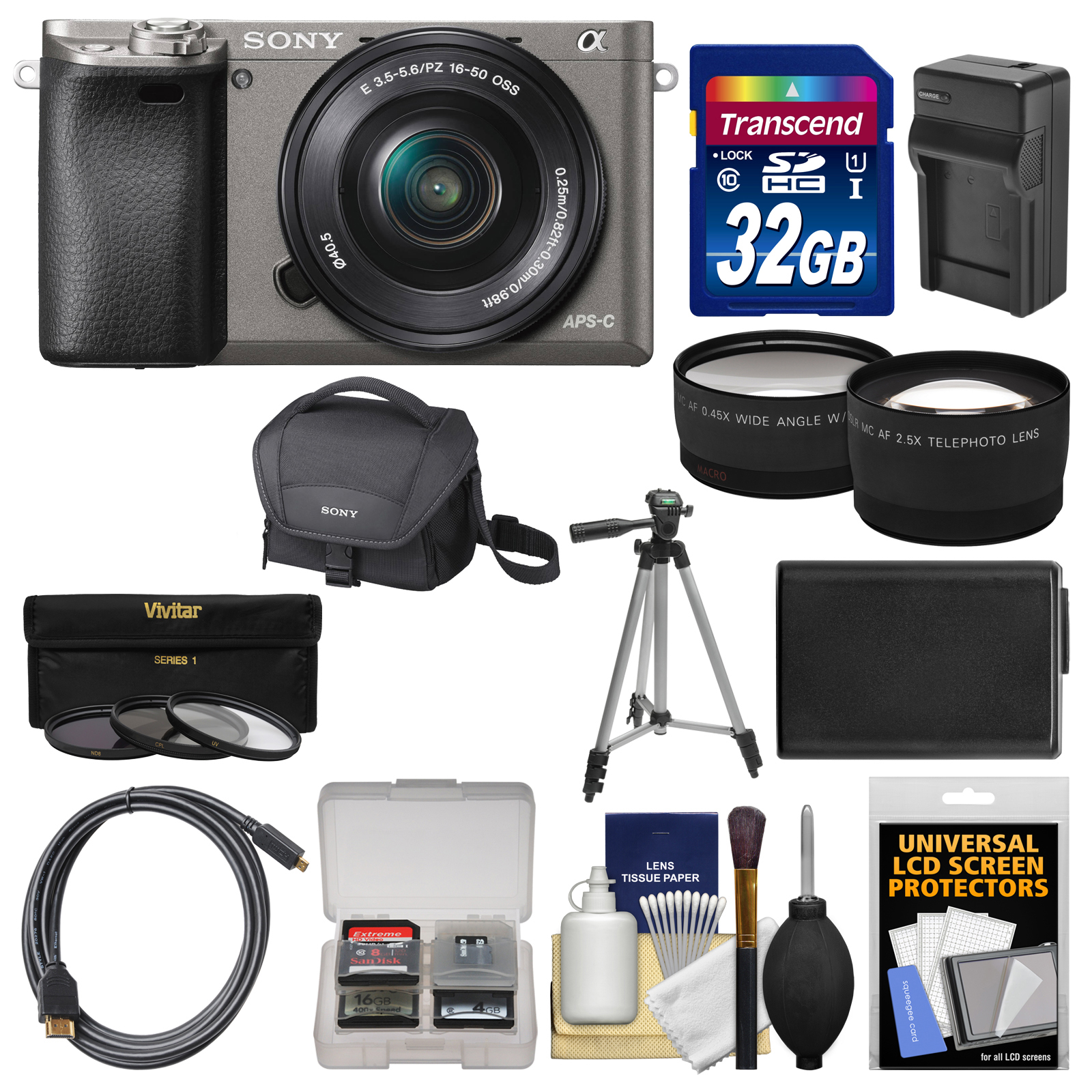 Sony Alpha A6000 Wi-Fi Digital Camera & 16-50mm Lens (Graphite) with 32GB Card + Case + Battery/Charger + Tripod + Tele/Wide Lens Kit