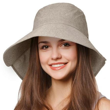 Tirrinia - Tirrinia Womens Wide Brim Sun Hat w  Neck Flap Lightweight Beach  Gardening Cap - Walmart.com 92f82d3bcca