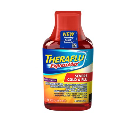 Theraflu Expressmax Severe Cold   Flu Berry Warming Relief Formula Syrup For Cold   Flu Relief  8 3 Oz
