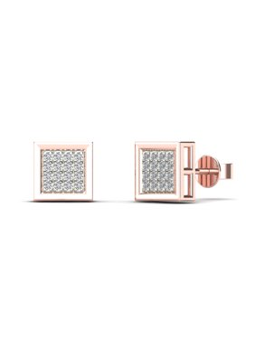 aaXia Men's 10K Rose Gold 1/10ct TDW Diamond Square Stud Earrings