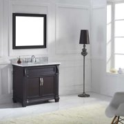 "Victoria 36"" Single Bath Vanity in Grey with Marble Top and Square Sink with Mirror"