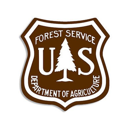 2.5x2.5 inch BROWN US Forest Service Shield Sticker - hike logo forestry (Best Hiking Stickers)