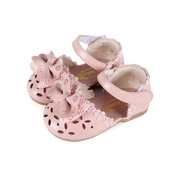 Wassery Little Girls Bowknot Sandals Lace Hollow Out Princess Soft Sole Sneakers Footwear