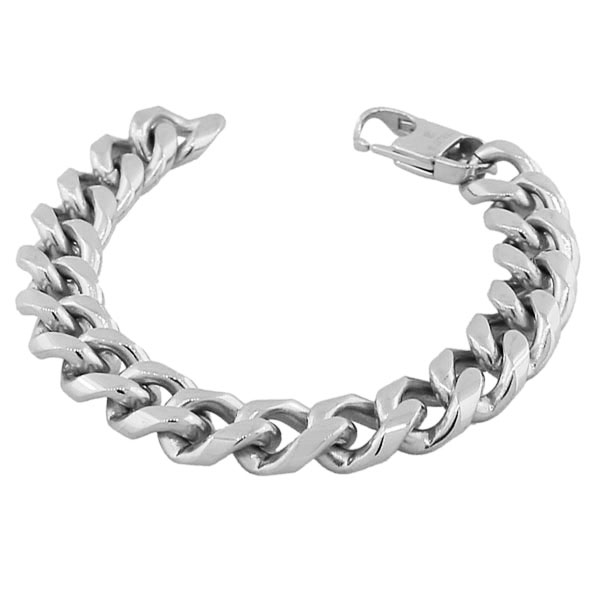 Stainless Steel Silver-Tone Men's Classic Link Cuban Chain Bracelet