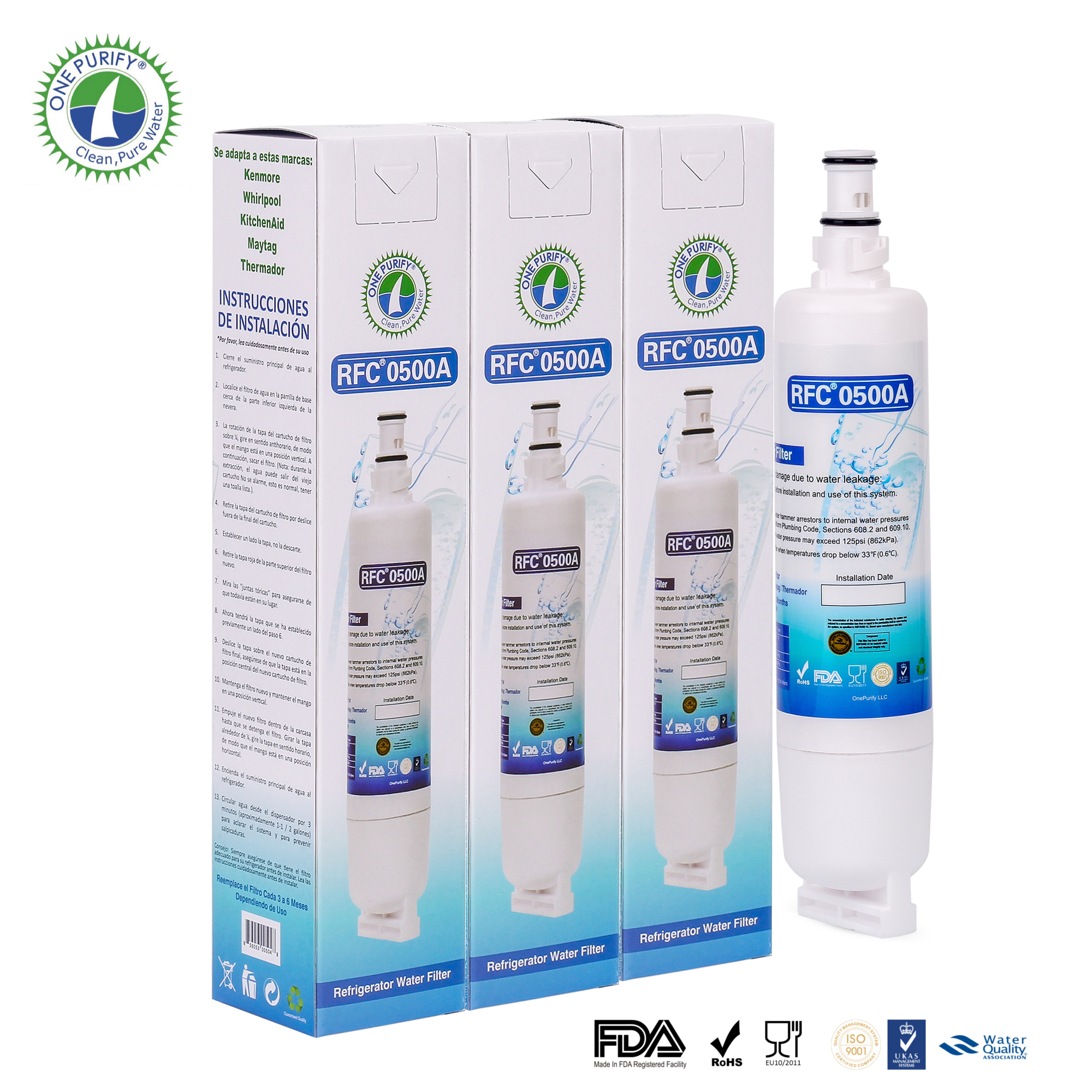 Whirlpool 4396508 4396510 46-9010 Compatible Refrigerator Water Filter 3 Pack