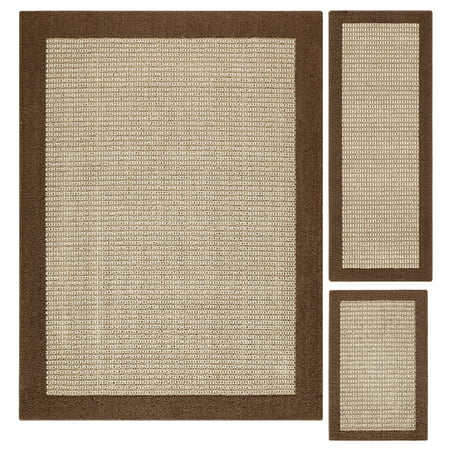 Mainstays Faux Sisal Olefin High Low Loop Tufted 3-Piece Area Rug Set (Palm Sisal Rug)
