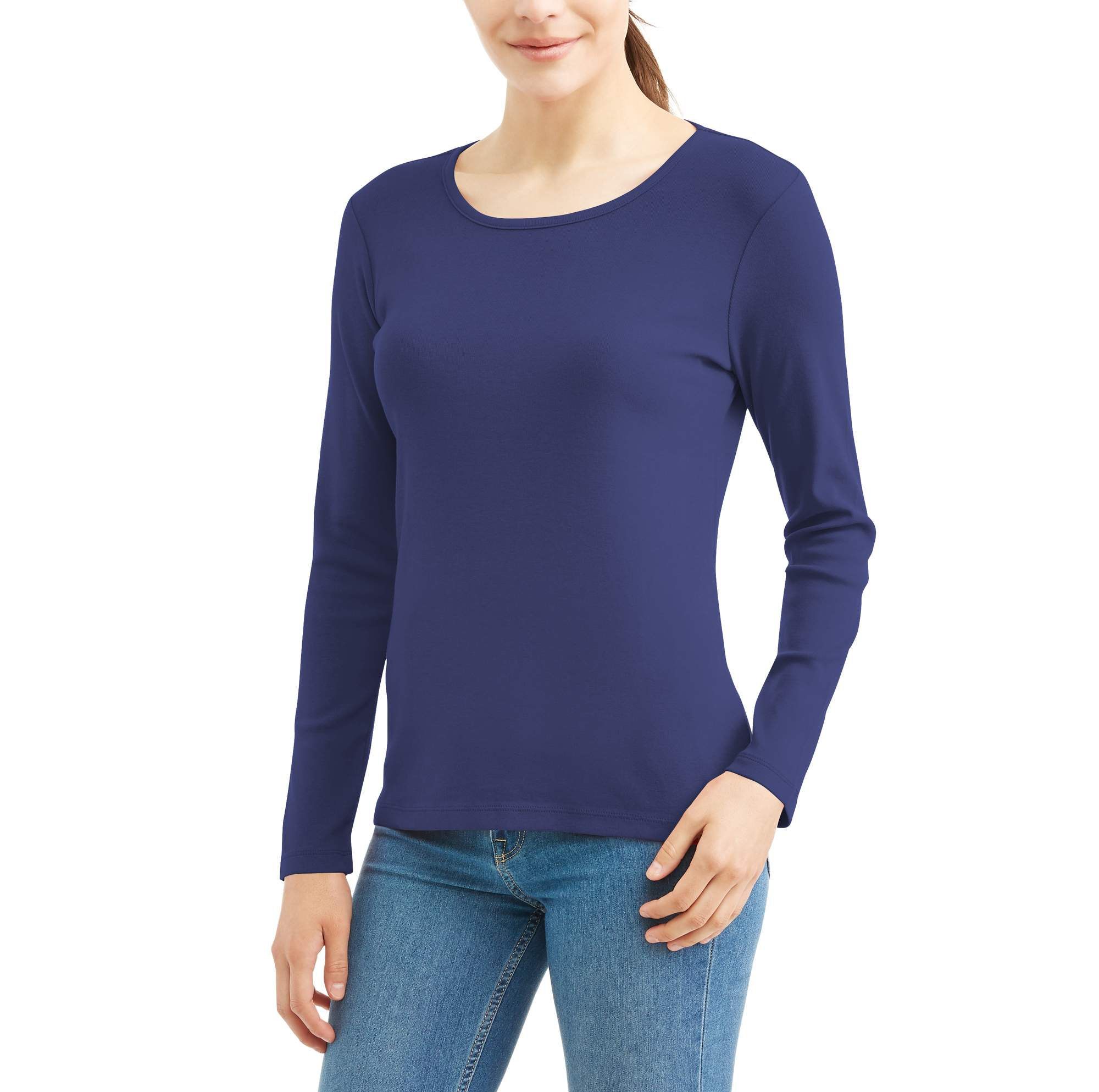 White Stag Women's Essential Long-Sleeve Crewneck T-shirt