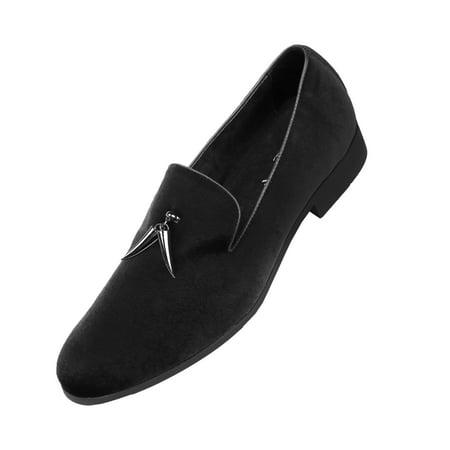 Amali Mens Slip On Velvet Smoking Slipper, Casual Nightclub Shoe with Tassle ()