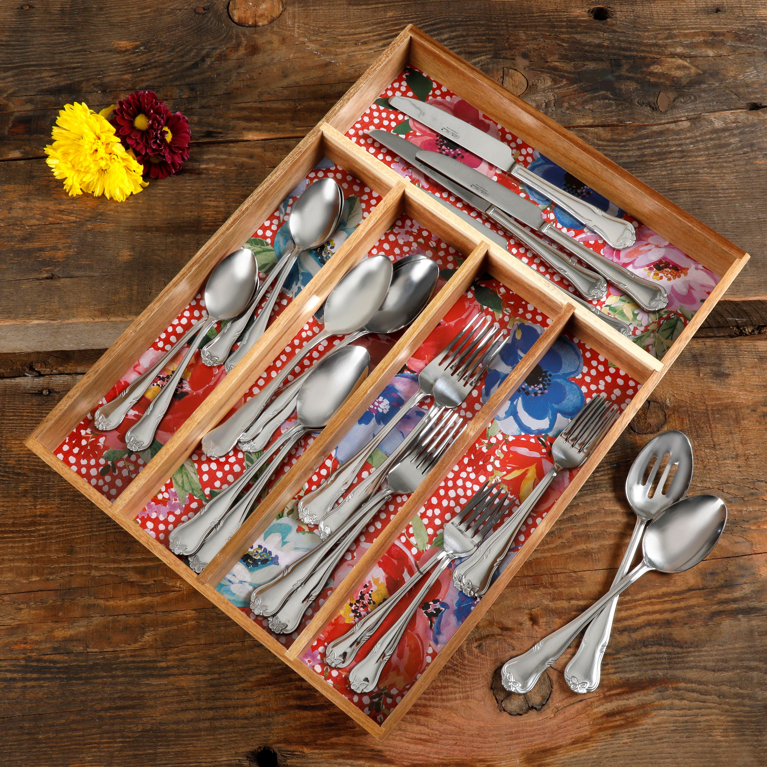 The Pioneer Woman Melody 5-Section Cutlery Tray