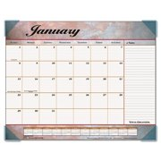 "89702 At-A-Glance Marble Look Desk Pad Calendar - Monthly - 22"" x 17"" - 1 Year - January till December - 1 Month Single Page Layout - Vinyl, Paper - Rose, Gray, Burgundy"