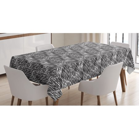 Zebra Print Tablecloth, Black and White Hand Drawn African Animal Skin Camouflage Illustration, Rectangular Table Cover for Dining Room Kitchen, 52 X 70 Inches, Black and White, by Ambesonne (Camouflage Table Cover)