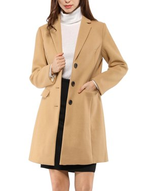 Women's Notched Lapel Single Breasted Outwear Coat L Browns