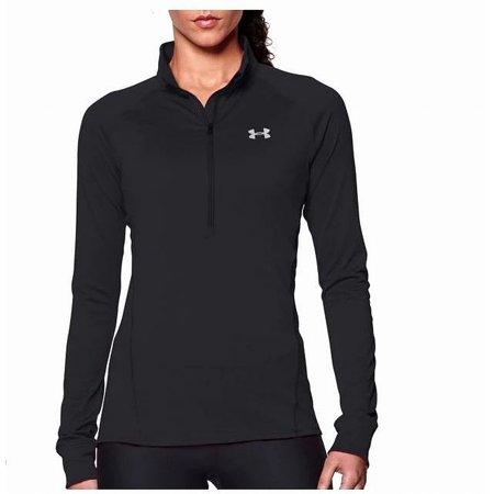 under armour 1263101 women's black tech 1/2 zip long sleeve shirt - size small