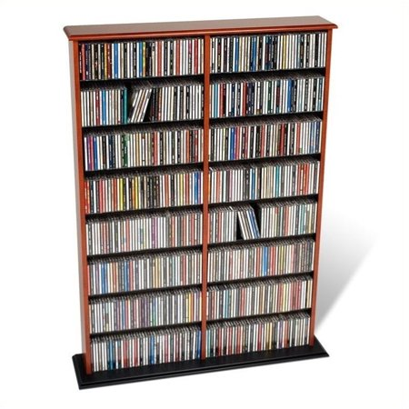 Pemberly Row 51″ Double CD DVD Wall Media Storage Rack in Cherry and Black