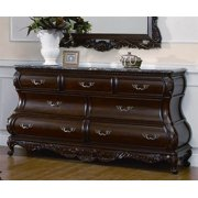 Dresser with Marble Top And Resin Carvings