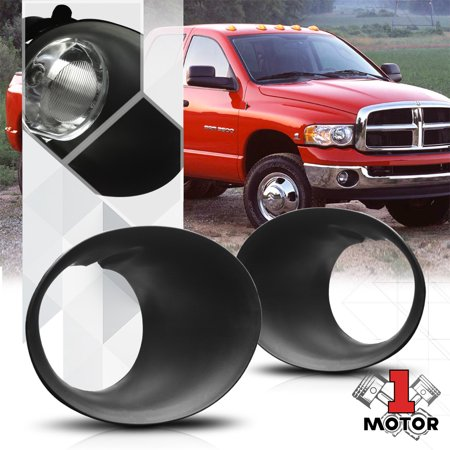 Black Replacement Fog Light Lamp Trim Cover Bezel L+R for 02-09 Dodge Ram Truck 03 04 05 06 07 08