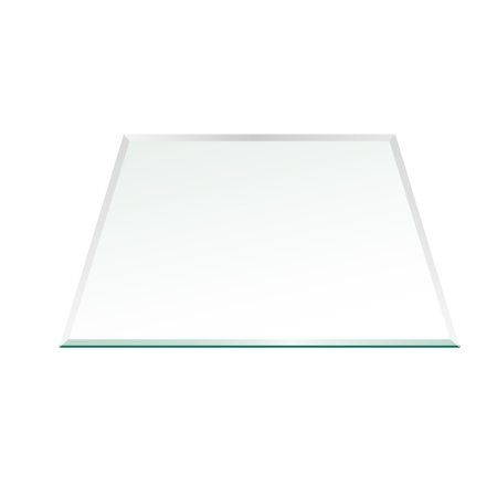 "36"" Square Glass Top 1/2"" Thick - 1"" Bevel Edge With 1"" Radius Corners"