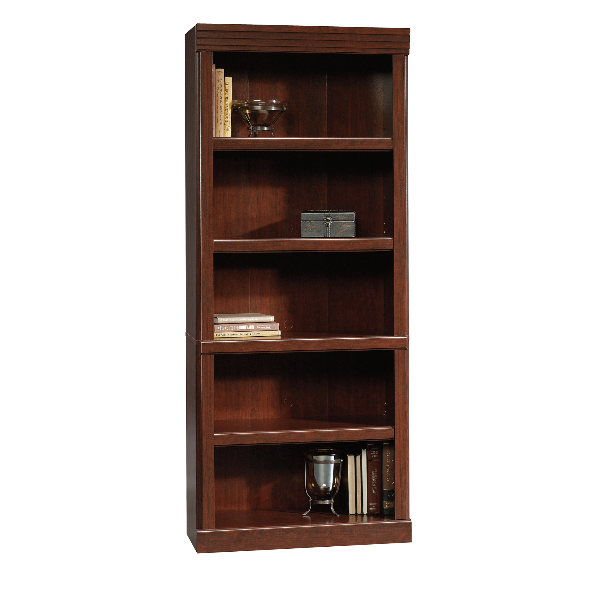 Sauder Heritage Hill 5 Shelf Library Bookcase, Classic Cherry Finish