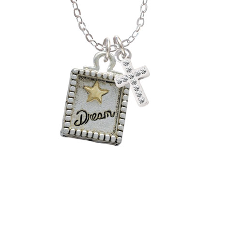 "Shadow Box ''Dream'' with Gold Tone Star  - White Crystal Cross Sophia Necklace, 18""+1"""