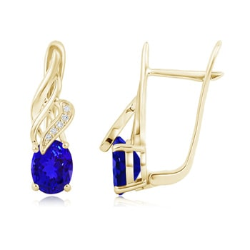 Angara Oval Tanzanite and Diamond Earrings With Metal Curves in Platinum x92Gi