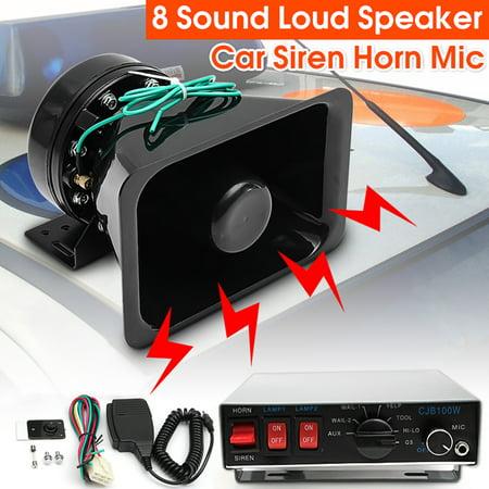 M Way 130db 12v 8 Tones Electronic Car Warning Alarm Loud Speaker Siren Horn Mic System Hands Freemegaphone Police Fire Siren Horn Pa Speaker For Cars