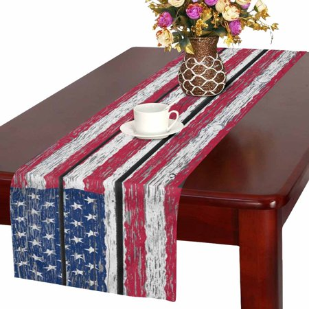 4th Of July Wedding Ideas (MKHERT American Flag Independence Fourth of July on Wood Table Runner Home Decor for Wedding Party Banquet Decoration 16x72)