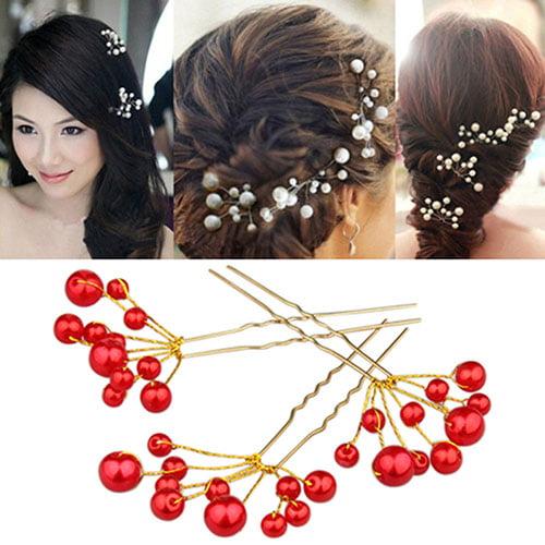 Moderna Fashion Wedding Bridal Bridesmaid Faux Pearls Hair Pins Clips Comb Headwear