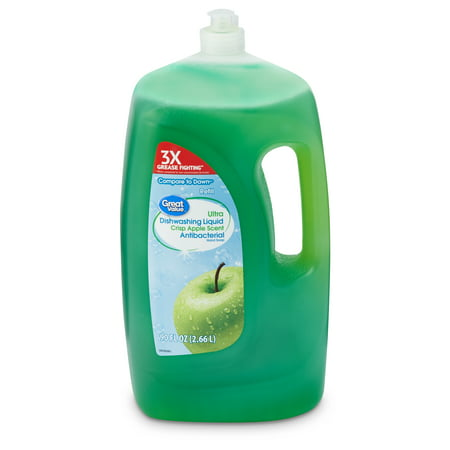 - Great Value Ultra Concentrated Dishwashing Liquid, Crisp Apple Scent, 90 fl oz